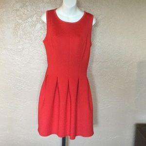 Ann Taylor Orange Red Skater Dress 12P Knee Length